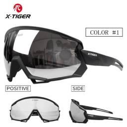 Óculos X-tiger Ciclismo Polarizado 3 Lentes Clip Grau