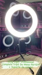 Promoção ring light 6 polegadas com tripe de mesa e suporte de celular