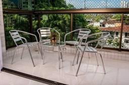Conjunto de Terraço em Alumínio / Conjunto 04 Cadeiras + Mesa de Centro c/ Vidro