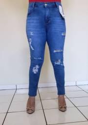 Calça jeans Skinny Rasgada modelagem que levanta bumbum
