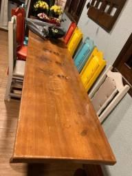 Mesa de Madeira vintage + 8 cadeiras