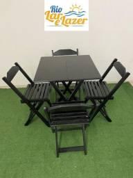 Jogo de Madeira Mesa 0,70X 0,70 E 4 Cadeiras - Linha Econômica