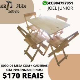 JOGO DE MESA COM 4 CADEIRA DOBRÁVEL(PINUS)