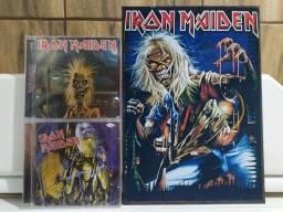 2 cds Iron Maiden - Original Lacrado, Mais um Quadro em MDF 3 Tamanho folha A4.