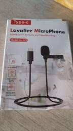 Microfone lapela com entrada Tipo C, iPhone e auxiliar/ imperdível