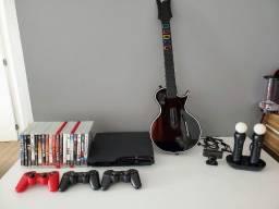 PS3 Slim 160gb + Acessórios e jogos