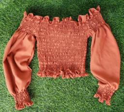 Blusa ciganinha cropped