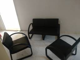 Conjunto de sofá Sala/Escritório 3 Peças Braço Preto R$ 650