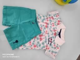 Conjunto infantil blusa polo e short