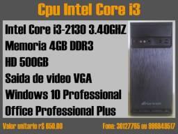 Cpu Core i3 memoria 4gb hd 500gb