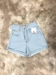 Short jeans claro feminino