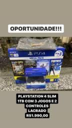 PS4 PlayStation 4 Slim com 3 jogos + Controle Extra