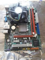 Kit placa mãe ecs com processador dual core 2.5ghz e 2gb de ddr3