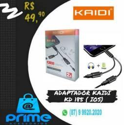 Adaptador Kaidi para Iphone Carga + Entrada fone P2