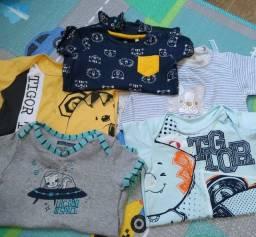 Kit macacão curto bebê menino