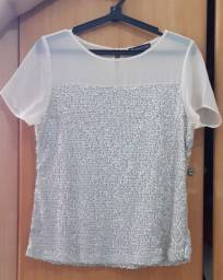 Título do anúncio: Blusa Social elegante cor bege/gelo.