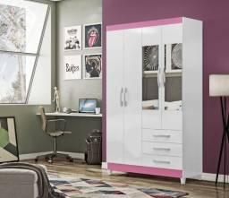 Guarda Roupa 4 Portas Branco e Risa Com Espelho na D Tudo Para Casa Móveis