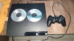 PS3 SLIM DESBLOQUEADO COM 1 CONTROLE ORIGINAL TODOS OS CABOS HD COM JOGOS..