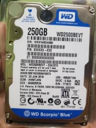 HD p/ Notebook WD 250gb Scorpio Blue
