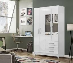 Guarda Roupa Branco Com Espelho Em Oferta na D Tudo Para Casa Móveis