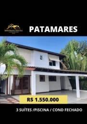 Casa 3suítes em Patamares com Piscina e Área Gourmet Privativa