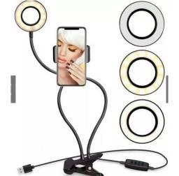 2 em 1 com suporte de Celular para Maquiagem Selfie Live Make Abajur Luminaria