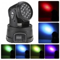 Canhão Jogo De Luz Moving Head 18 LEDs Laser RGB  Super Potente  LK-294