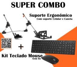 Kit Suporte Ergonomico para Note + Teclado e mouse sem fio
