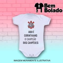 Body infantil Timão Corinthians manga curta