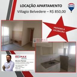 Apartamento próximo à usc, 2 dormitório, r$ 850/mês - villagio belvedere - bauru/sp