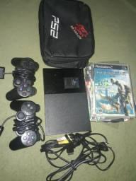 Playstation 2 + 2 Controle + 1 Memory Card + 20 Jogos