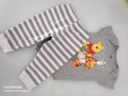 Calça e body bebê 6 a 9 meses