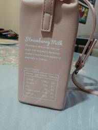 Bolsa caixa de leite de morango