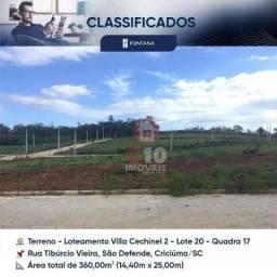 Terreno à venda, 360 m² por R$ 93.054 - São Defende - Criciúma/SC