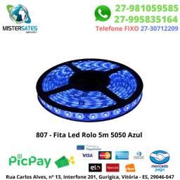 807 - 890 - Fita Led Rolo 5m 5050 Azul sem fonte