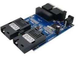 Placa Switch Rede Metro Ethernet Gigabit 2 Portas RJ45 + 2 SC-APC (A+B) Monomodo 20km<br>