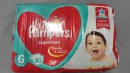 Fraldas Pampers supersec pacote com 80 tamanho G