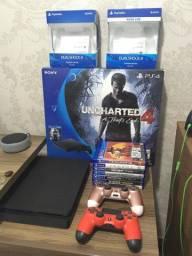 Playstation 4 Slim 500gb, 2 controles, 7 jogos, caixa original