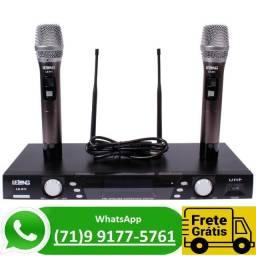 Microfone Sem Fio Profissional Duplo Uhf Digital Karaokê 911 (NOVO)