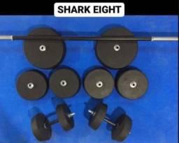 Anilhas para musculação + halteres e barra (treine em casa)