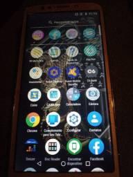 Celular Smartphone Motorola E5 Dourado Visor Trincado Touch Falhando