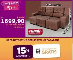 Sofa/estofado retratil e reclinavel 2,80m