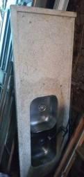 Pia de mármore 2 cubas com torneira para água quente