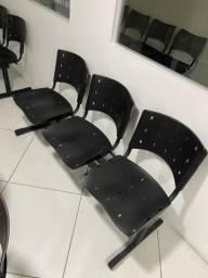 Cadeira Longarina 3 lugares Preta