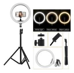 Ring Light LED 10Tripé 2,10 Metros Iluminação Profissional Instagram Foto Vídeo Aula