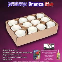 12 canecas de cerâmica branca para sublimação, LIVE, classe AAA