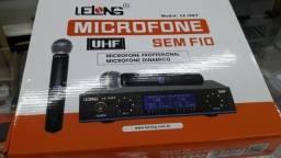 Microfone Sem Fio Duplo Lelong Digital Le907 Uhf Profissional entregamos Pilhas