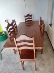Mesa rústica de madeira 6 cadeiras avista ou cartão