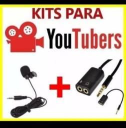 Kit para profissionais youtubers( microfone+adaptador)