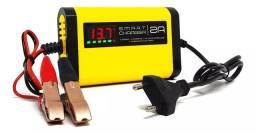 Carregador inteligente bateria carro, moto, display led carga flutuante